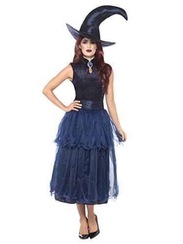 Smiffys Damen Mitternacht Hexen Kostüm, Kleid, Linsenförmige 3D Brosche und Hut, Größe: 44-46, 45112