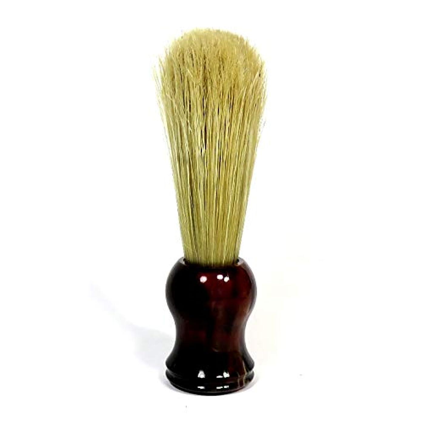 ちっちゃい詩関係する理容シェービングブラシ ヒゲブラシ 長型(H14cm) 自然毛 ブラウンハンドル ディトマー(独)