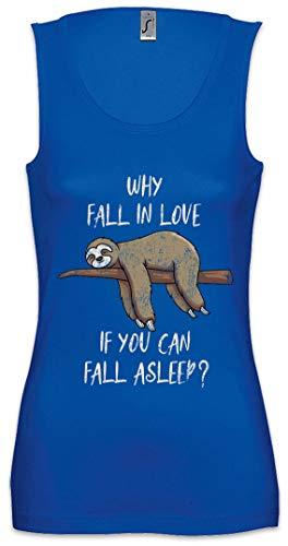Urban Backwoods Sloth Fall In Love Asleep Mujer Camiseta Sin Mangas Women Tank Top Azul Talla XL