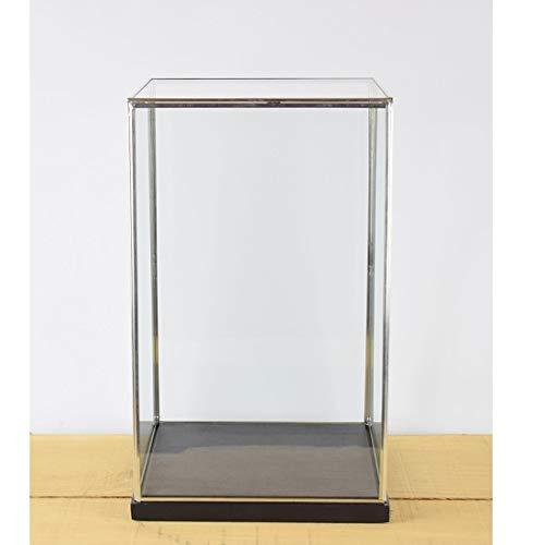 EMH handgemaakte glazen en zilveren metalen frame vitrine doos met zwarte houten voet 42 cm