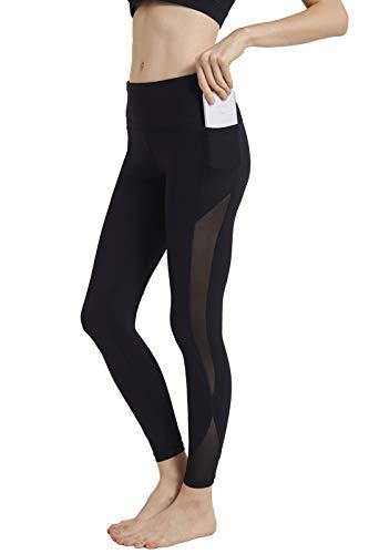 ONGASOFT Yoga Pants for Women, Fitness Running Workout Mesh Leggings, Tummy Control, Side Pockets Black