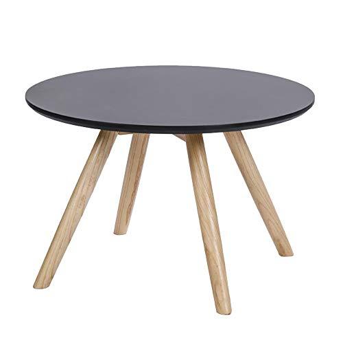 HRFHLHY Table D'appoint De Canapé Balcon en Bois Massif Table Basse Ronde,Black