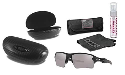 Oakley Flak 2.0 XL Sunglasses (MatteBlack Frame, Prizm Black Polarized Lens) with Lens Cleaning Kit and Ellipse O Carbonfiber Hard Case