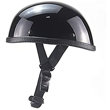 Motorcycle Helmet Ultra Thin Beanie Hat-Light without Peak DOT/ECE Approved Vintage German Style Motorcycle Half Helmet Skull Cap for Men And Women Black,L