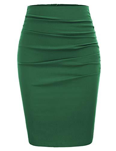 GRACE KARIN Women Knee Length Pencil Skirt Slim Fit Business Skirt Size L,Green