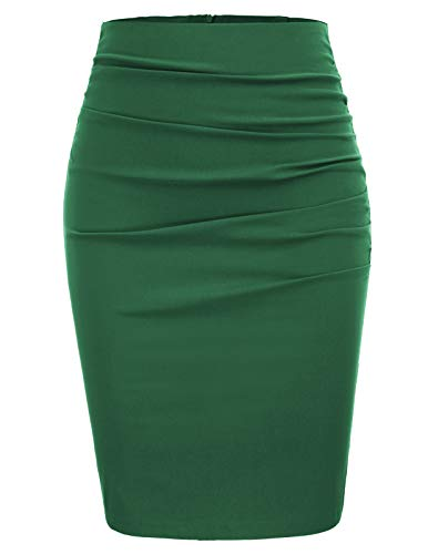 GRACE KARIN Womens Bodycon Club Knee Length Ruched Pencil Skirt Size 2XL,Green