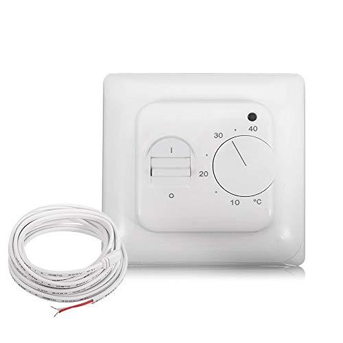 Thermostat Fußbodenheizung Temperatur Regler Raumthermostat UP Unterputz mit 3m Temperaturfühler Externem für Elektrische Fußbodenheizung Heizsysteme
