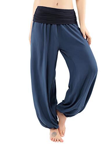 BAISHENGGT Damen Pumphose Haremshose Blumenmuster Lange Hose Blau XL