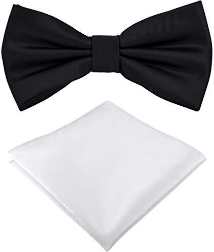 Helido Fliege für Herren mit Einstecktuch, 12 verschiedenfarbige Accessoires-Sets passend zu Hemd und Anzug oder Smoking + Geschenkbox (Schwarz und Weiß)