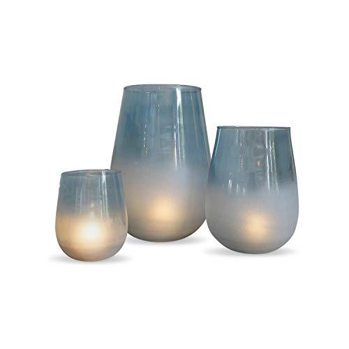 Loberon Windlicht 3er Set Miristelle, Glas, blau