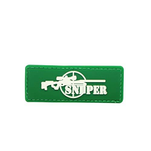 Cobra Tactical Solutions Sniper Green Parche PVC Táctico Moral Militar con Cinta adherente de Airsoft Paintball para Ropa de Mochila Táctica