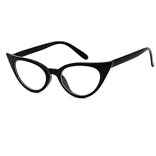 Dawnzen® Mujer Gafas de Gato Montura Marcode Gafas, 50\'s Ojo De Gato Cat Eye Lente Transparente Retro Moda Vintage Triangle Gafas (Estilo 1)