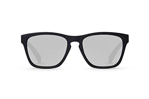 TAKE A SHOT Holz-Sonnenbrille - UV400 Schutz, sportlich, silber dunkel. verspiegelt, Herren Damen, rückentspiegelt Schwarz - THE NIGHTINGALE