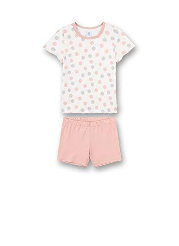 Sanetta Mädchen Schlafanzug kurz beige Pyjamaset, White Pebble, 128