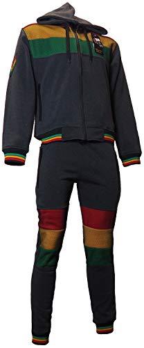 Herren Rasta Fleece Trainingsanzug Kapuzenjacke 2-teiliges Komplettset Elastische Hose Gr. L, dunkelgrau