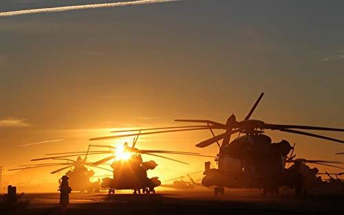 ZGNH Rompecabezas 1000 Piezas Luz del Sol helicóptero avión Militar Cielo Madera Puzzle, niño Juguete Educativo Intelectual de Adulto descompresión,Regalo Ideal La Mejor DIY Decoración hogareña