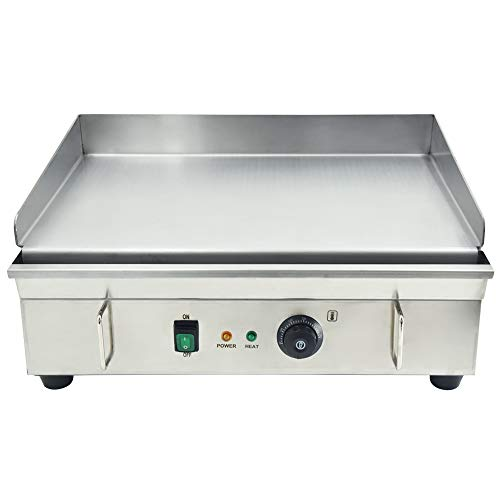 TAIMIKO Commercial Electric Griddle All Stainless Steel Flat Top Grill Hot Plate Thermostatic Control 3000W 21.5'×13.6'