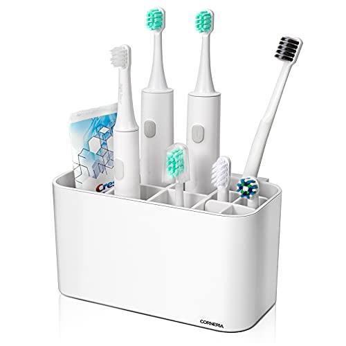 CORNERIA Zahnbürstenhalter - Badezimmer an der Wand befestigter Zahnbürstenbehälter - Zahnpastaständer (4 Zahnbürstenfächer + 6 elektrische Zahnbürstenköpfe) (weiß)