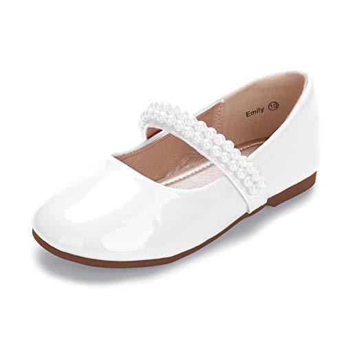 Hehainom Toddler Little Kid Girls Dress Shoes Mary Jane Ballet Ballerina Flats Wedding with Pearls Strap (White Patent  10 M US Toddler)