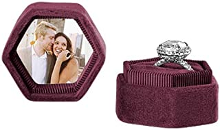 Koyal Wholesale Custom Photo Velvet Ring Box, Hexagon Vintage Wedding Ceremony Ring Box with Detachable Lid, 2 Piece Engagement Ring Box Holder, Modern Proposal Idea (Burgundy)