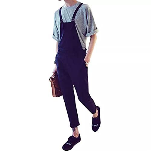 UXZDX CUJUX Men Bib Overalls Ankle Length Streetwear Cargo Pants Korean Style Slim Black Jumpsuits Rompers Youth Casual Trousers (Color : Black, Size : XXXL)