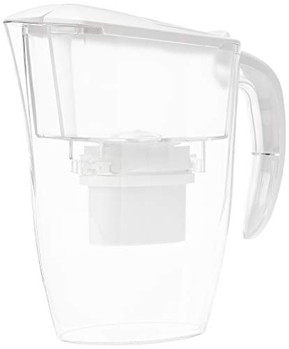 Amazon Basics Krug mit Wasserfiltereinsatz, 2,4 L, Weiß