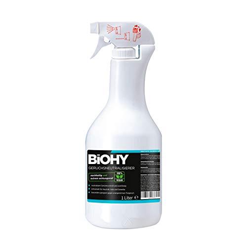 BiOHY Geruchsneutralisierer (1l Spray) | Extra starker Geruchsentferner/ -vernichter und Lufterfrischer |Gegen unangenehme Gerüche in der Wohnung und im Auto | Anti Tabak