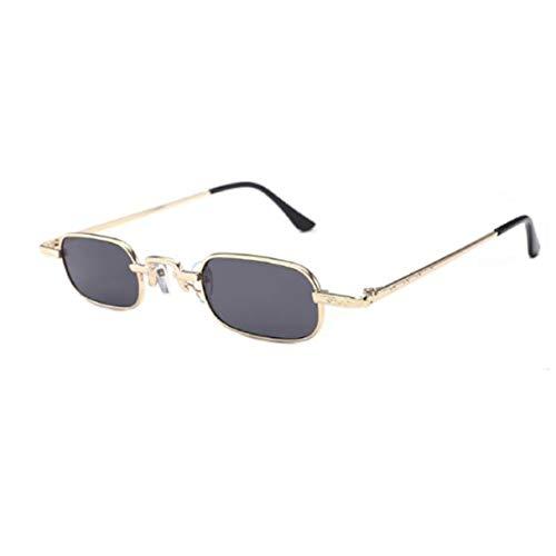 Morninganswer Gafas Retro Punk Gafas de Sol Transparentes de Color Verdadero Gafas de Sol rectangulares de Metal con visión de Alta definición Anti-UV Oro Gris