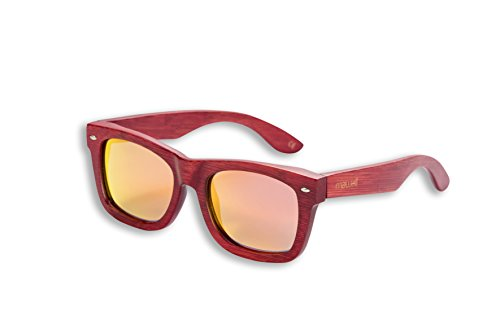 Mawaii Modell Puia Ra Rot Orange Polarized Lenses Fgv (Feel Good Vision) Inkl. Bambus-Box Und Mikrofaserbeutel Sonnenbrille, L