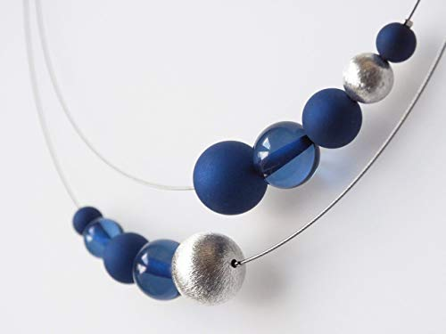 Polariskette blau silber Kette Collier