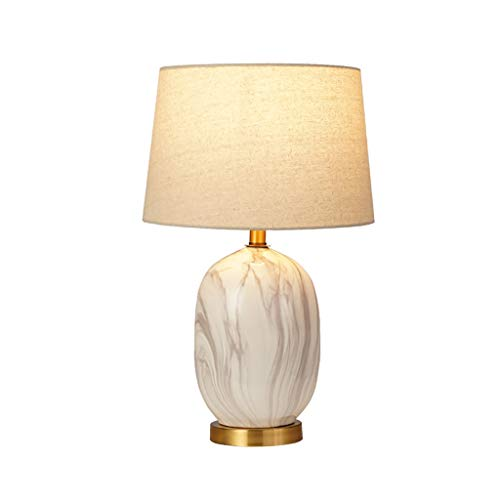 Iluminación Lámpara de mesa de la sala de cerámica afilado redondo tambor Shade iluminación del escritorio Luz de Noche de lectura del dormitorio regalo Mesilla Lamparas (Color : White)