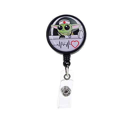 Cute Nurse Badge Holder Reel - Yoda Retractable Badge Reels with Alligator Clip,Medical MD RN Nurse Badge ID, Badge Holder,Teacher,Student,Office Employee Name Badge