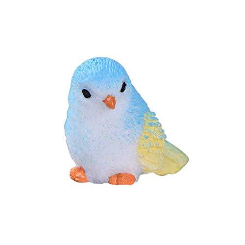 Whiie891203 - Mini statuetta da giardino in miniatura, motivo: uccellino, modello fai da te, paesaggio, giardino, colore: blu