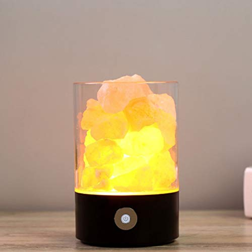 Lámpara de Sal de Himalaya Lámparas de Roca de Sal Rosa de Himalaya Natural Creador de Humor Interior para Dormitorio Oficina Exterior Camping Lámpara de Yoga