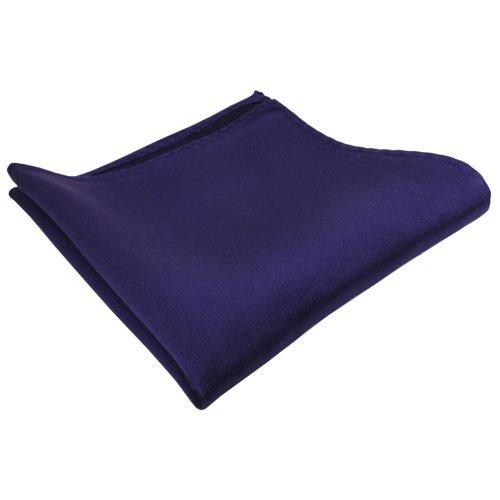 TigerTie gewebtes Designer Satin Seideneinstecktuch in lila blaustich Uni einfarbig - Tuch 100 % Seide