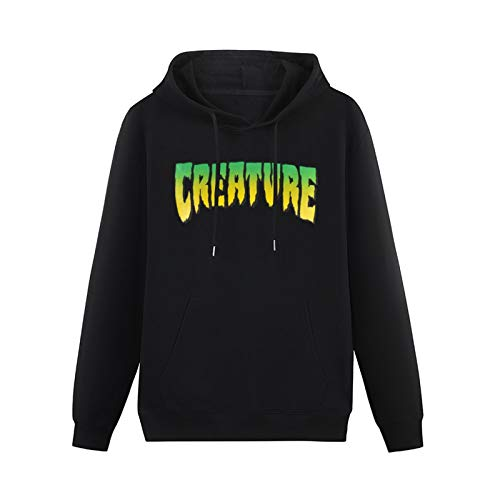 XIAOXIONG Mens Heavyweight Hooded Creature Skateboard Regular Logo Hoodies Pullover Sweatshirts Black L