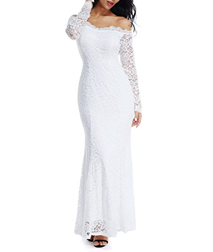LALAGEN Women's Floral Lace Long Sleeve Off Shoulder Wedding Mermaid Dress White1 XL