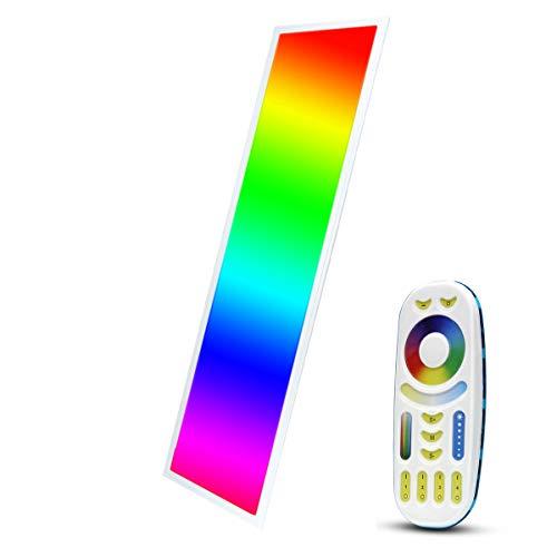 LIGHTEU®, RGBCCT LED paneel 120x30cm 40W 24V RGB + 2700-6000K kleur- en kleurtemperatuur instelbaar met voeding Milight 4-zone afstandsbediening FUT092 en ontvanger FUT045, plafondlamp