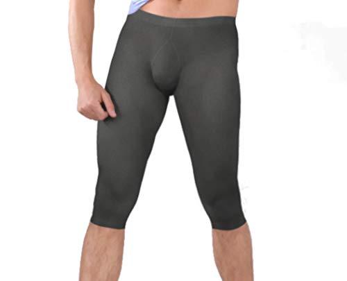 Pariser-Mode Herren-Capri-Leggings, Mikrofaser 40 den, knielang, ohne Eingriff, perlengrau, Gr. L (48-50)