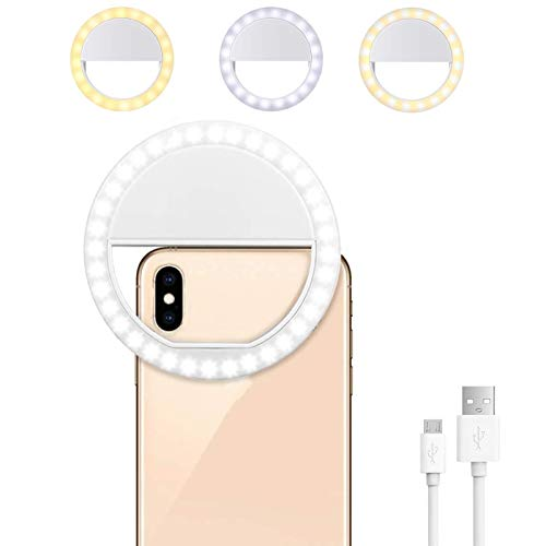 Selfie Ring Light for iPhone and Laptop Zoom Meetings - 64 LED Rechargeable Selfie Light for Phone, iPad, Desktop - 3 Dimmable Modes - Large 500mAh Battery - Giftable and Portable Clip-On Ring Light