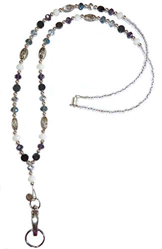 Artistic Multicolored Women's Beaded Fashion Necklace Lanyard, Made in USA, Slim and Beautiful, Super Durable for Badge, Keys, ID, 34 inches Long (Multi Magnetic Breakaway)