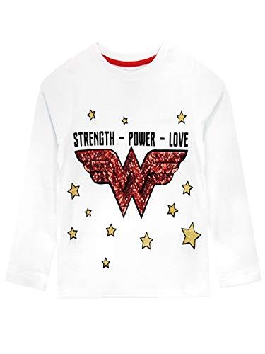 DC Comics Camiseta de Manga Larga para niños Wonder Woman Blanco 6-7 Años