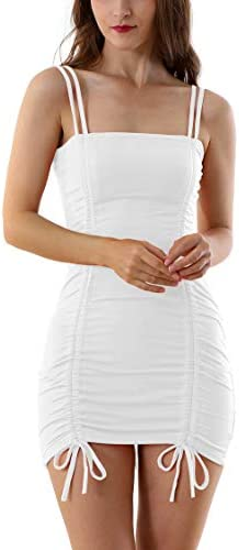 Velius Women s Sexy Front Drawstring Spaghetti Strap Backless Ruched Bodycon Clubwear Mini Dress product image