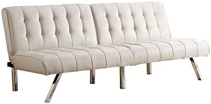 Best MHG Futon Sofa, Modern Couch with Chrome Legs Quickly Converts into a Bed, Rich Vanilla White Faux L