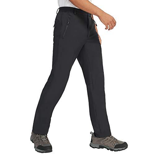 CAMEL Pantalones de forro polar de los Hombres de Invierno Senderismo - Softshell Pantalones de Trabajo Nieve Impermeable Pantalones, Negro, Medium/32.3' Inseam