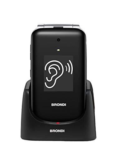 Brondi Amico Supervoice, Telefono cellulare GSM per anziani con tasti grandi, tasto SOS e funzione controllo remoto, dual SIM, volume alto ed amplificato