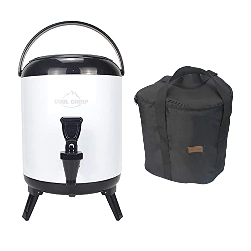 SM SunniMix Cubo de Aislamiento de Espuma de PU para Camping, Almacenamiento de Calor, Gran Capacidad, Sellado de Doble Capa, Tanque de Bebidas de Acero - Blanco 6L