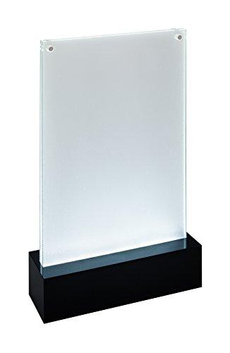 SIGEL TA422 Soporte de sobremesa con LED para A5, presentación a dos caras, con iluminación, transparente/negro, Acrílico