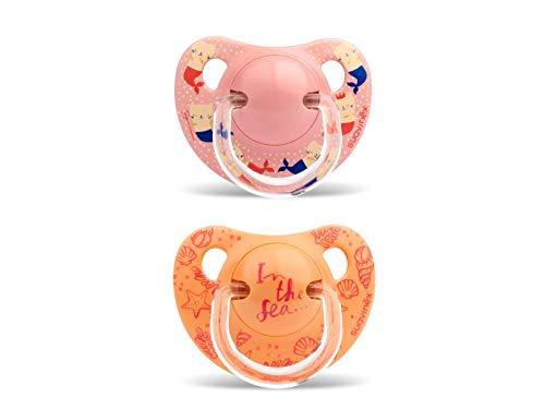 Suavinex - Pack de 2 Chupetes 6-18 Meses. Tetina Anatómica de Silicona 0% Bisphenol, Color Rosa + Naranja Diseño In The Sea