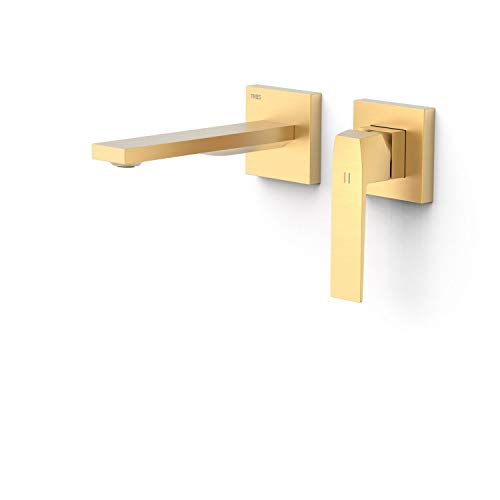 Grifo monomando empotrado para lavabo, gama Slim-Exclusive, con amortiguadores acústicos y caño de 180 milímetros, 25,4 x 19,4 x 7,4 centímetros, acabado oro mate (referencia: 20230001OM)